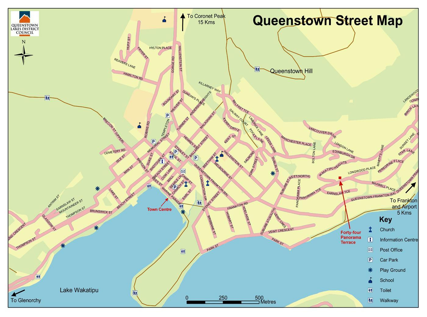 Queenstown, Neuseeland Karte - Straßenkarte von queenstown ... on