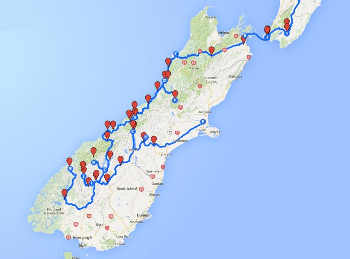Karte Neuseeland Südinsel Zum Ausdrucken.Karte Von New Zealand South Island Karte Der Südlichen Insel Von